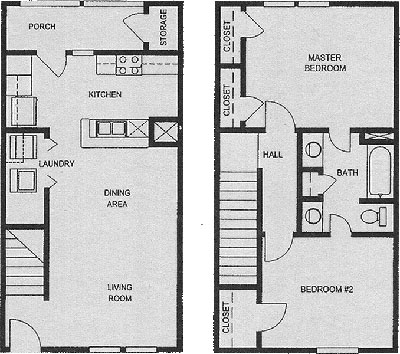 Two Bedroom / One Bath / Townhome - 995 Sq. Ft*