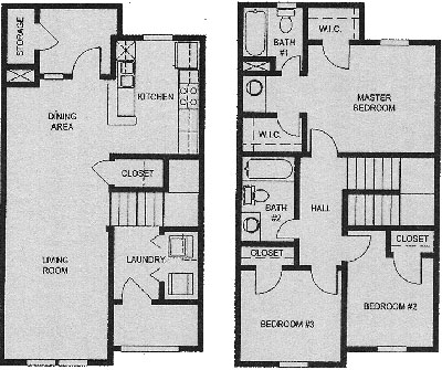 Three Bedroom / Two Bath / Townhome - 1,210 Sq. Ft.*