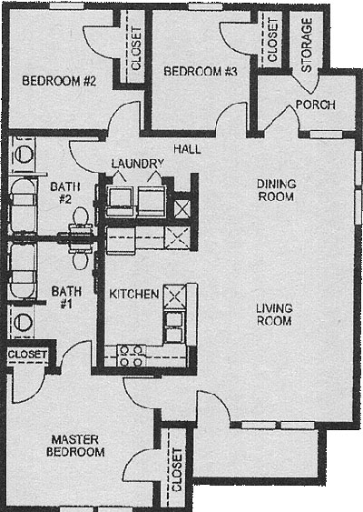 Three Bedroom / Two Bath - 1,120 Sq. Ft.*
